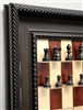 "2.5"" Jaques chess pieces, Ebonized on Red Maple board with Traditional Brown Frame"