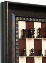 "3"" Russian Chess Pieces on Red Maple board with Checkered Bronze frame"