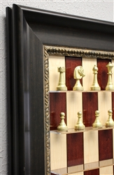 "3"" Metal Chess Pieces on Red Maple board with Dark Bronze Frame"