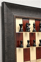 "3"" Supreme Chess Pieces on Red Maple board with Rustic Brown Frame"