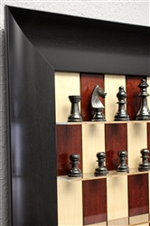 Red Maple Chess board with Wide Scoop Frame and Metal Chess pieces