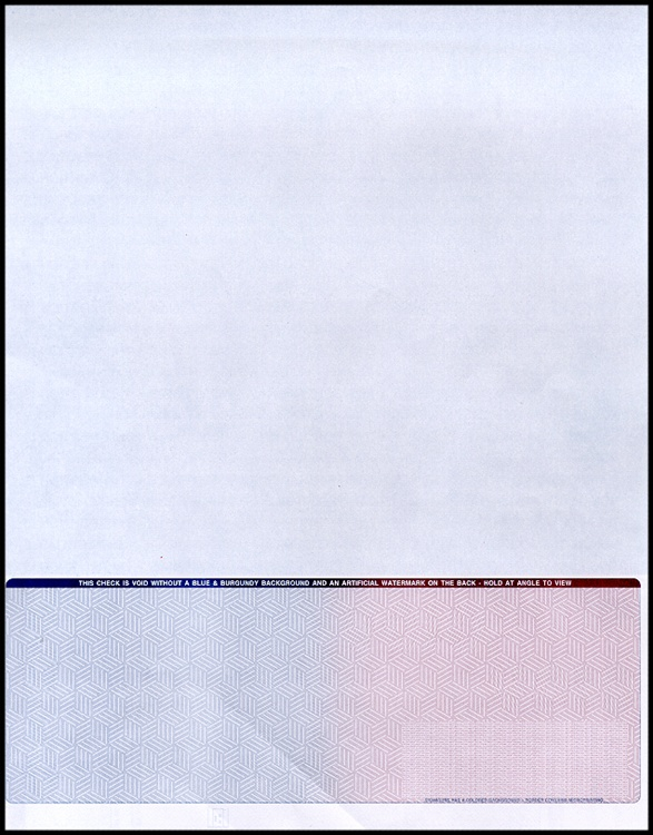 2500 Blank Check Stock Paper 3 on a Page Business