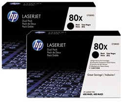 HP M401N, M401dn, M401dw, M425 MFP High Yield Dual-Pack Toner Cartridge -CF280X