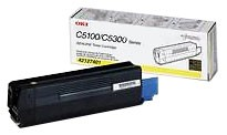Genuine OKI C5100/5150/5200/5300/5400 Series Yellow Toner Cartridge - 42127401