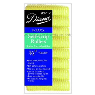 "Diane Self Grip Rollers 1/2"" Yellow, 8 Pack"