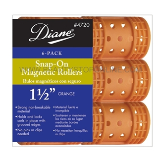 "Diane Snap-On Magnetic Rollers 1 1/2"" Orange, 6 Pack"