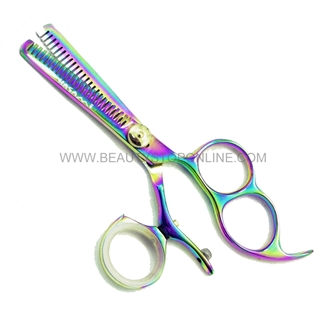 "Hasami H50-R Rainbow 5"" Thinning Shear Double Teeth With 3 Finger Holes & Rotating Thumb"