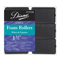 "Diane Foam Rollers 1 1/2"" Black, 6 Pack"