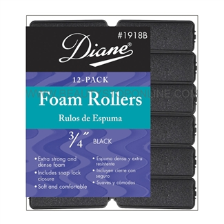 "Diane Foam Rollers 3/4"" Black, 12 Pack"