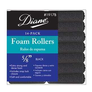 "Diane Foam Rollers 5/8"" Black, 14 Pack"