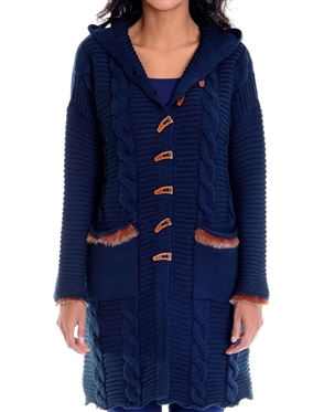 Women Navy Designer Knit Sweater
