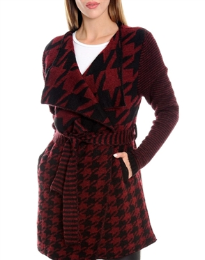 Women BURGUNDY Designer Knit Sweater