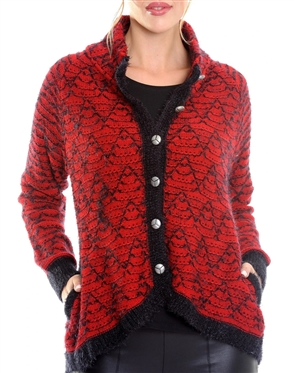 Women Red Designer Knit Sweater