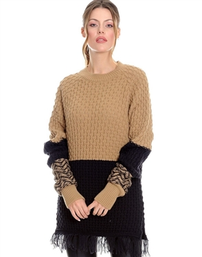 Women Tan Designer Knit Sweater