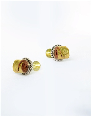 Janick Luxury Hand-Crafted Cuff Links | Gold Leather Roll
