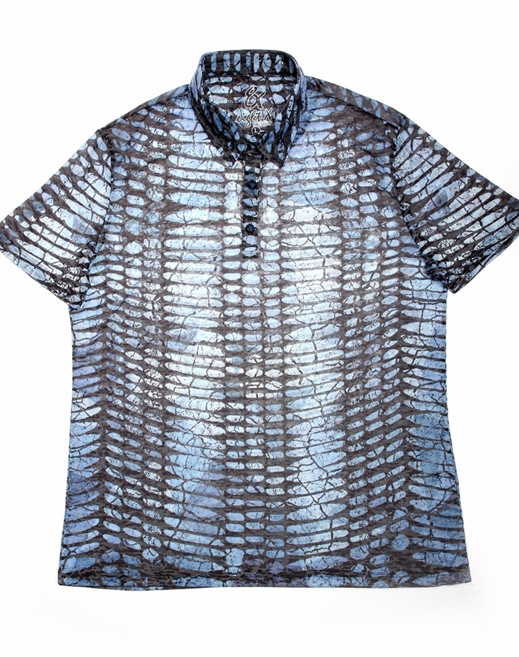 Shop Men S Luxury Polo Shirts Blue Snake Print Polo Trendy Blue
