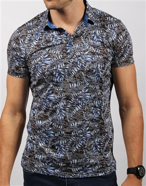 Navy Palm Leaf Print Polo