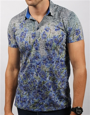 Navy Floral Polo Shirt