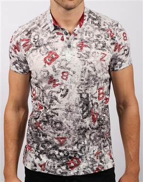 Black Red Print Polo