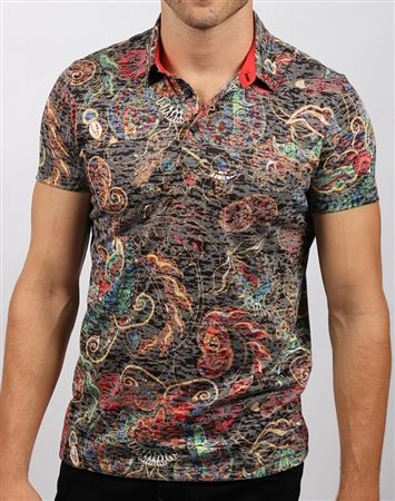 Black Floral Polo Shirt