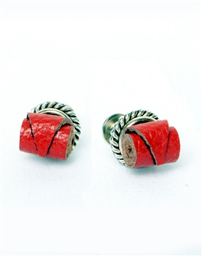 Janick Luxury Hand-Crafted Cuff Links | Red Leather Roll