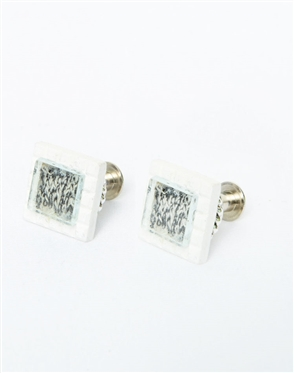 Janick Luxury Hand-Crafted Cuff Links | White Retro Zero Three