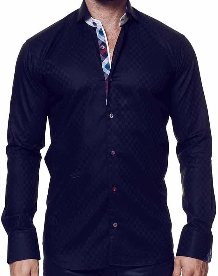 Black Wall Street Clothing black button down | maceoo momentum | wall street black jacq check