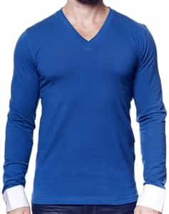 Navy Long Sleeve Sport v neck Shirt