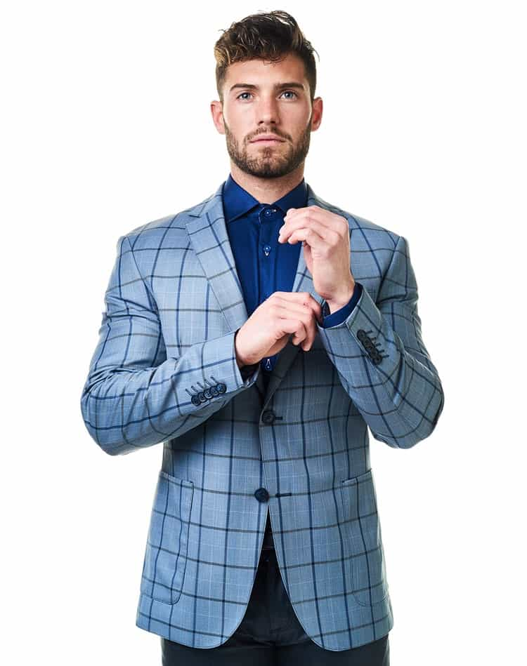 Sport Coats: Light Blue Sport Coat For Men   Maceoo Checkmate Three