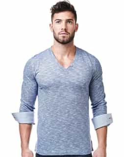 Fashion V Neck Shirt - Navy