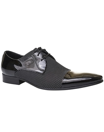 Designer Black Fashion Dress Shoes | Class White Dot Dress Shoes