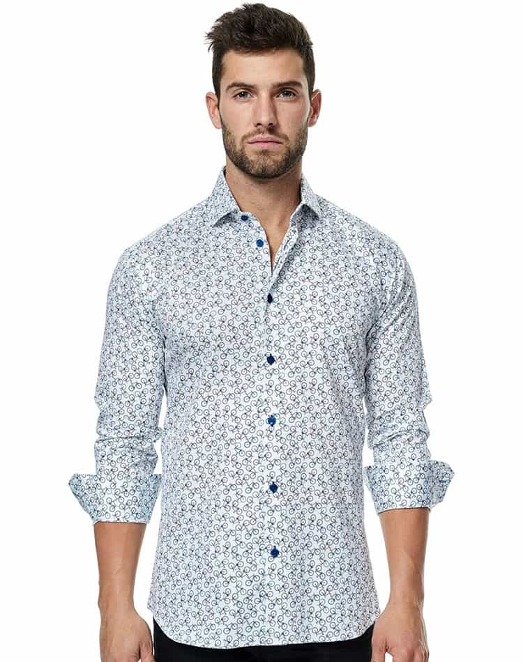 Trendy Button Down | White Dress Shirt - Bicycle | Maceoo Intenso