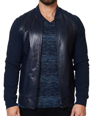 Navy Genuine Leather Jacket