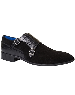 Suede Shoes: Black Suede Monk Strap Shoes