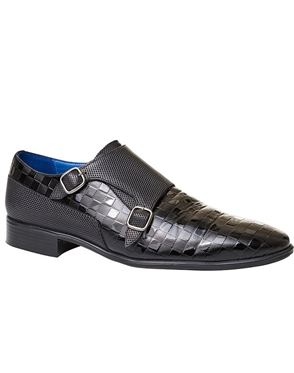 Black Designer Fashion Dress Shoes | Double Buckle Dress Shoes