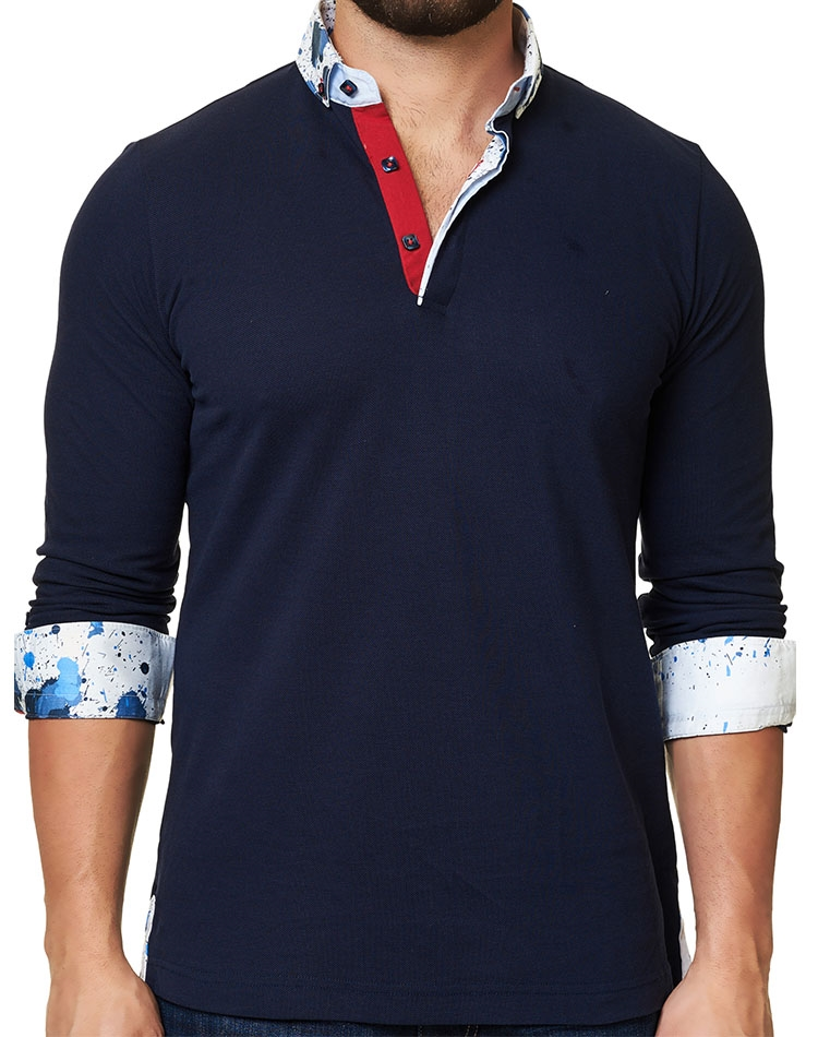 2d3f6c0a Navy polo: Men Long Sleeve Navy Polo Shirt- 3 Button Closure- Next ...