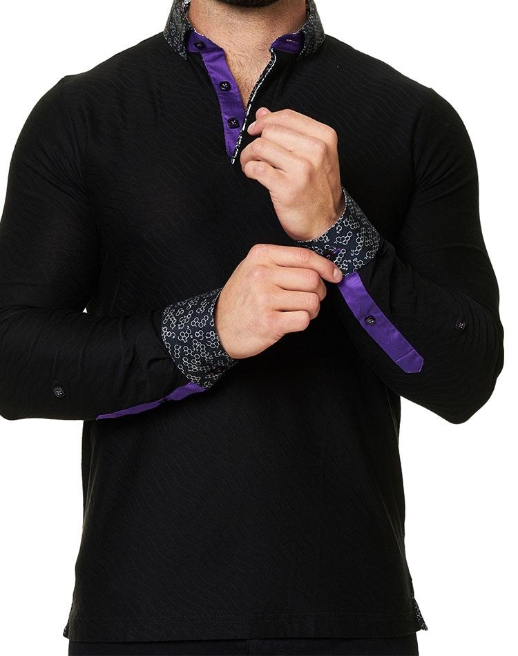 3691c8dad288 Designer Polo Shirts: Men Black Designer Polo Shirt- French Collar ...