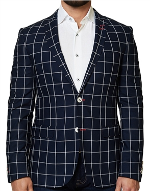 Navy White Check Sport Coat