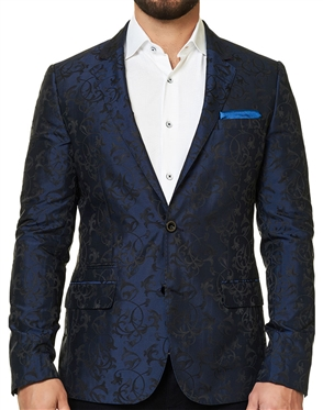 Navy Black Floral Jacket