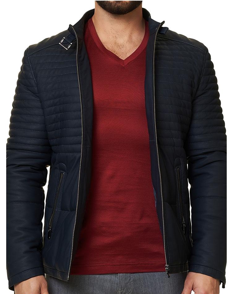 993b1f936ea Sporty Winter Wear - Navy Leather Jacket