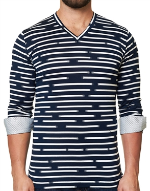 Maceoo Unrivaled | V Neck L Stripe Dis