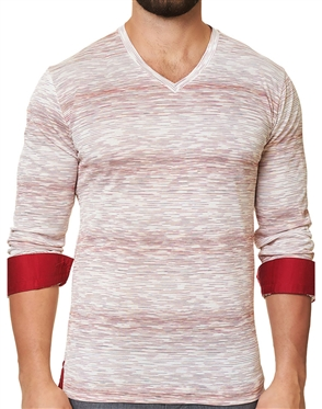 Maceoo Unrivaled | V Neck L Ing White Red