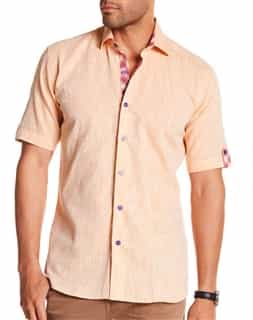 Orange Linen Dress Shirt