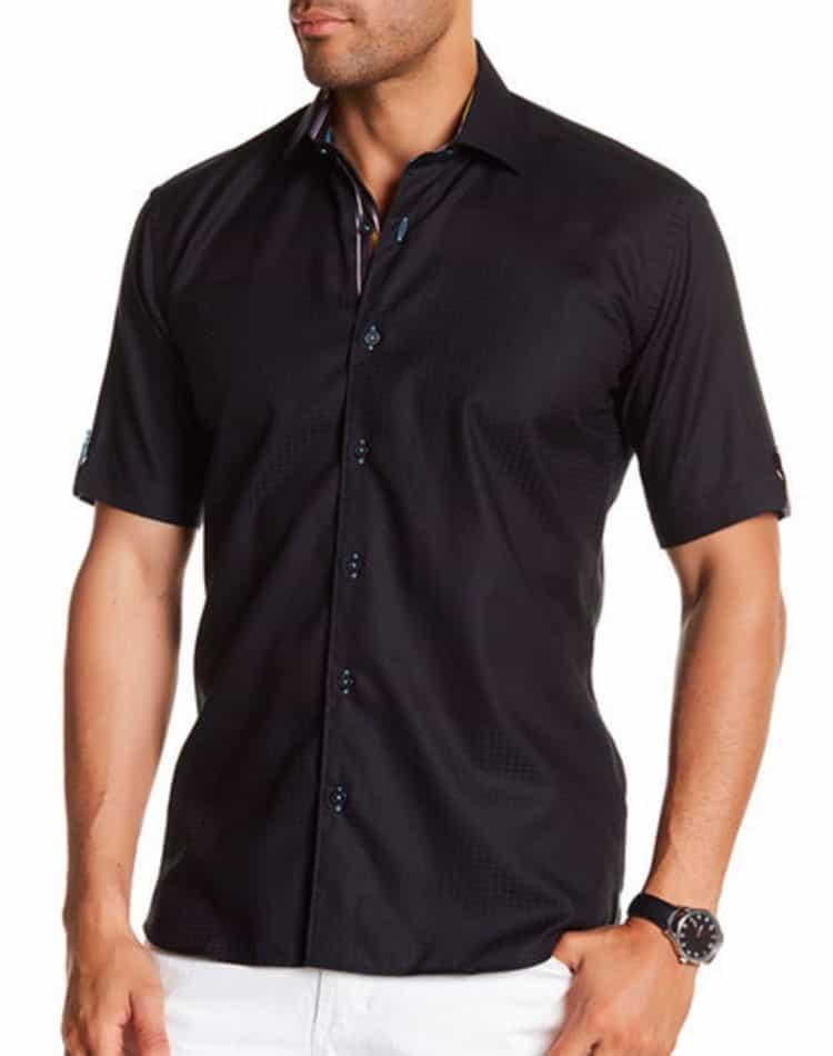 Black Short Sleeve Dress Shirt Men Fashion Shirt Maceoo Red