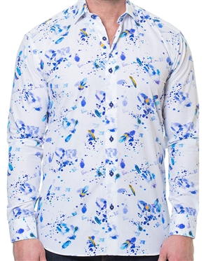 White Purple Feather Print Shirt