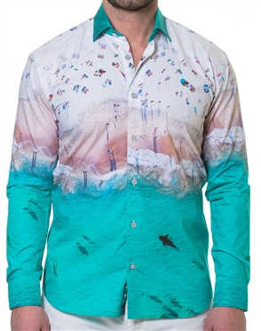 White Turquoise Ombre Dress Shirt