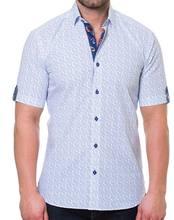 White Blue Dot Short Sleeve Woven