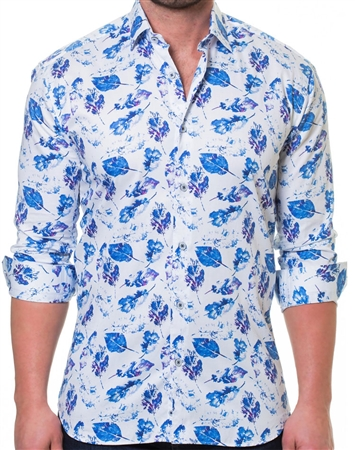 White Blue Leaf Dress Shirt