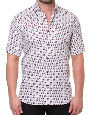White Red Short Sleeve Fashion Shirt