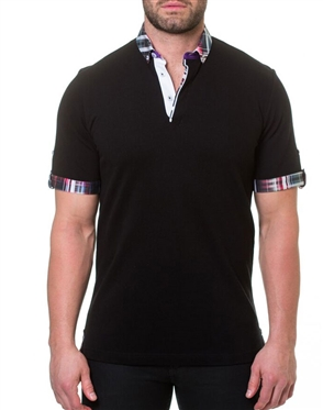 Black Short Sleeve Polo